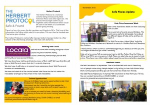 Safeplaces Newsletter Autumn 2015 page 1 image