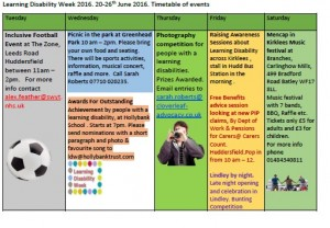 learning disability week events calendar